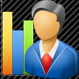 analysis, business man, marketer, marketing, planning, sales chart, seo graph icon