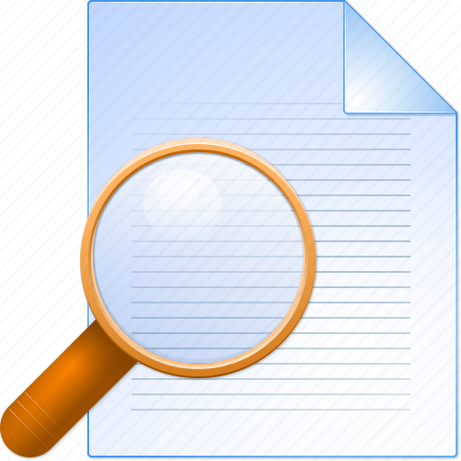 audit, check, control, print preview, search, view document, zoom icon