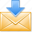 download emails, email message, get mail, inbox, income, letter, receive post icon