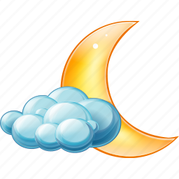 cloud, clouds, cloudy, night, partly icon