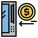 arrow, business, coin, machine icon