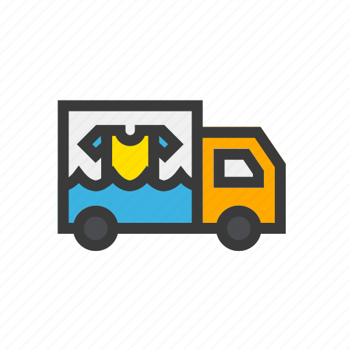 clean, delivery, laundry, truck, wash icon
