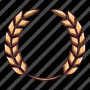 award, cartoon, certified, laurel, logo, object, wreath