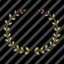 award, branch, cartoon, green, logo, object, wreath