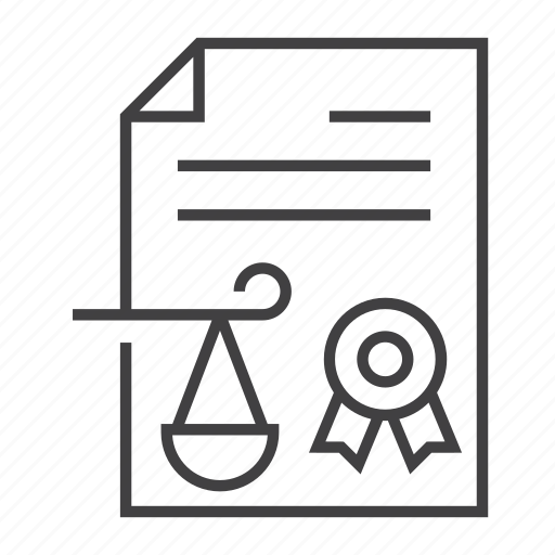 certificate, document, judgement, justice, law, legal, scale icon