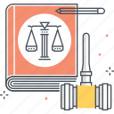 court, legal, book, lawyer, judge, law, hammer icon