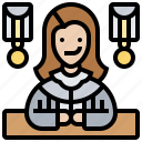 courtroom, judge, justice, law, magistrate icon