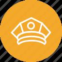 cap, hat, police, police cap icon