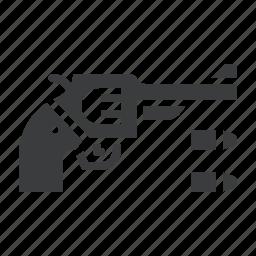 ammunition, bullet, crime, gun, pistol, police, revolver icon