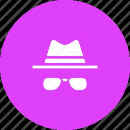 avatar, brim, detective, glasses, hat, specs icon
