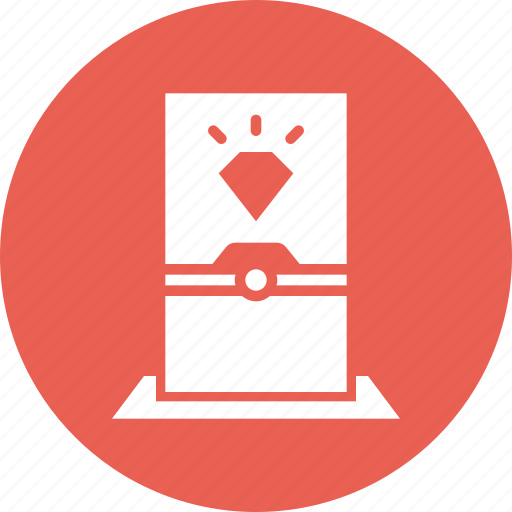 diamond, display, glass, jewel, museum, protection, security icon