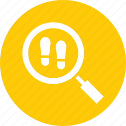 court, crime, detective, footprints, investigate, search icon