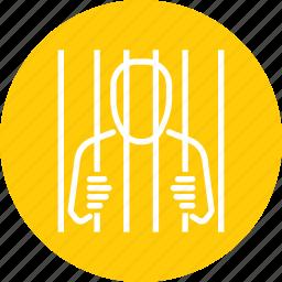 bar, jail, prison, prisoner, suspect, thief icon