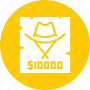 cowboy, criminal, poster, reward, thief, wanted icon