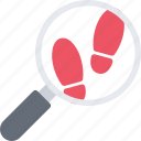 court, crime, criminal, footprints, law, police icon