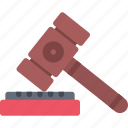 court, crime, criminal, hammer, judge, law, police icon