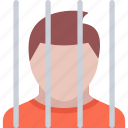 court, crime, criminal, law, police, prisoner icon