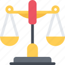 court, crime, criminal, law, police, scales icon