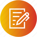 document, justice, law, paper, pen, write icon