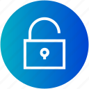 open, padlock, secure, unlock icon