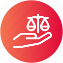 business, fairness, hand, honest, justice, law, scale icon