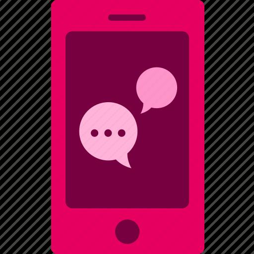 commerce, mobile, sale, service, shopping, speech bubble icon