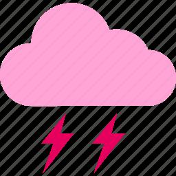 clouds, forecast, lightning, thunderbolt, weather icon