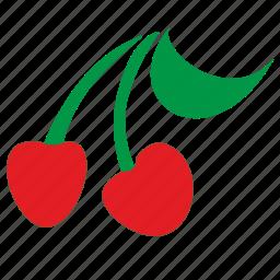 cherry, eat, food, leaf, tasty icon