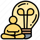 bulb, concentrate, light, meditate, thinking icon