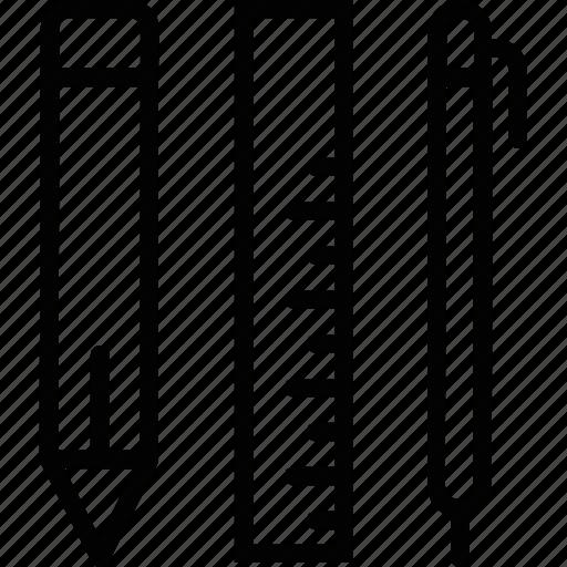 geometry, pen, pencil, ruler, uneversity icon