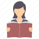 education, girl, graduate, graduation, learning, reading, study icon
