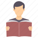 book, boy, education, knowledge, learning, reading, study icon
