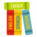 books, business, foreign, language, languages, translate, translation icon