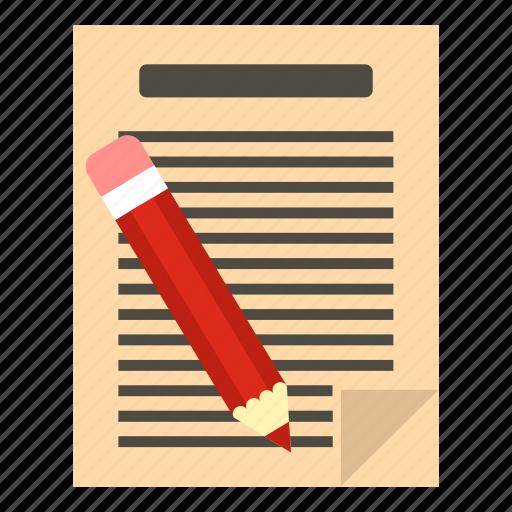 document, education, office, paper, pencil, school, write icon