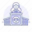 2, case, courthouse, courtroom, female, judge, legal, magistrate, podium, trial icon