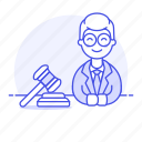 1, attorney, barrister, counsel, courtroom, gavel, lawyer, legal, male, trial icon