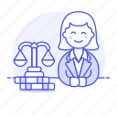 2, attorney, barrister, counsel, courtroom, female, gavel, lawyer, legal, trial icon