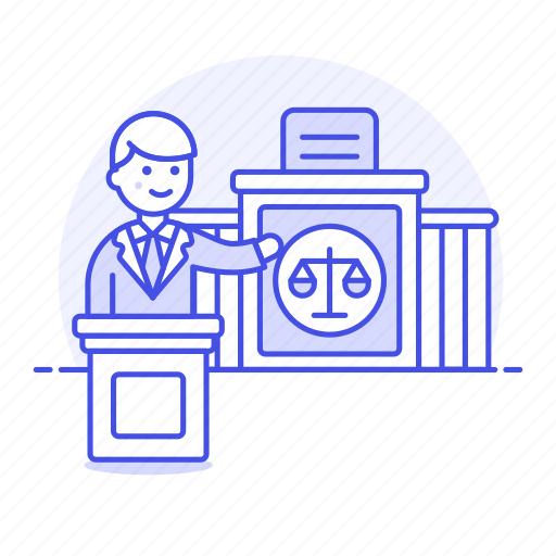 court, courthouse, courtroom, judge, justice, law, lawyer, legal, man, of, podium, trial icon