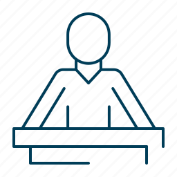 court, hearing, law, lawyer, trial icon