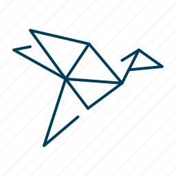bird, fly, origami, paper, stork icon