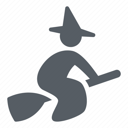 broom, flying, halloween, people, witch icon