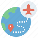 airplane, earth, globe, plane, transportation, travel, trip, world, worldwide icon