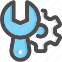 engineering, gear, machine, maintenance, wrenchsetting icon