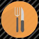 cutlery, dinner, fork, kitchen, knife, restaurant, table icon