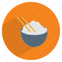 bowl, chinese, chopsticks, cuisine, food, japanese, white rice icon