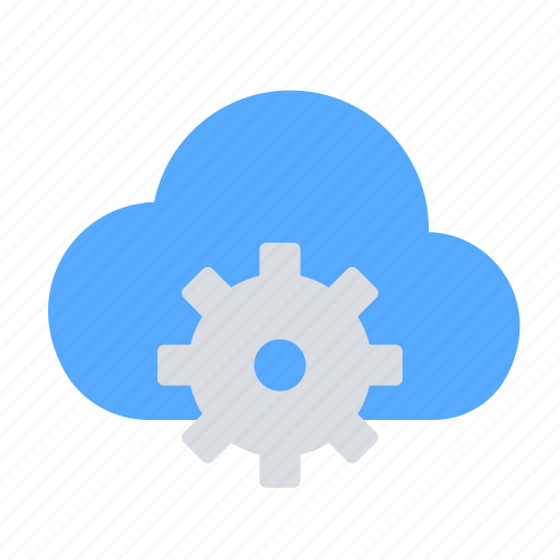 cloud, gear, settings, storage icon
