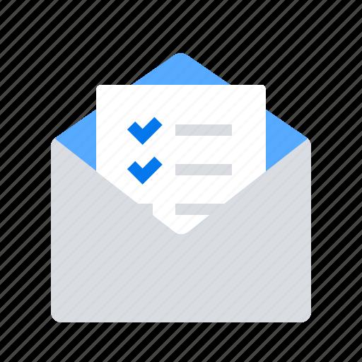 checklist, letter, mail icon
