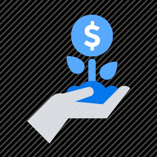 growth, hand, money icon