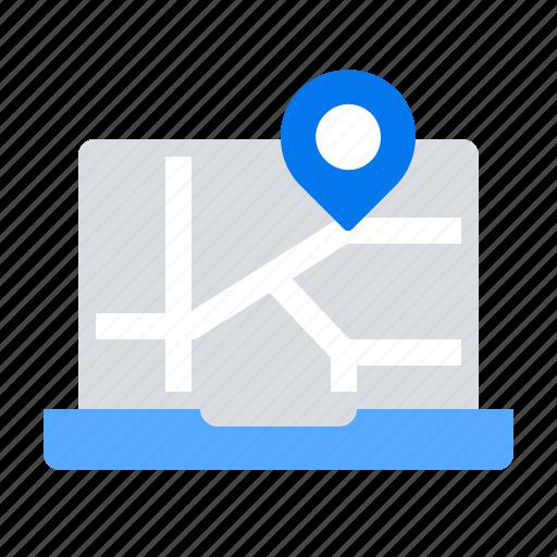 city, laptop, location icon