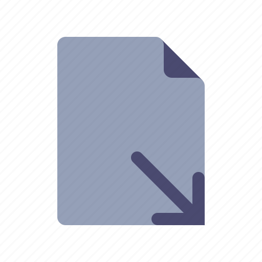 arrow down, document, download, file icon